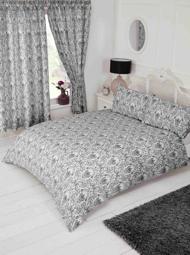 Black Grey White Floral Paisley Damask Design Bedding Duvet Quilt Cover Set
